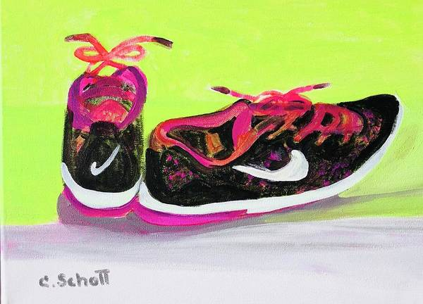 Sneakers Painting - My Comfy Shoes by Christina Schott