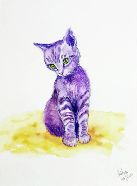 Painting - My Cute Purple Kitten by Asha Sudhaker Shenoy