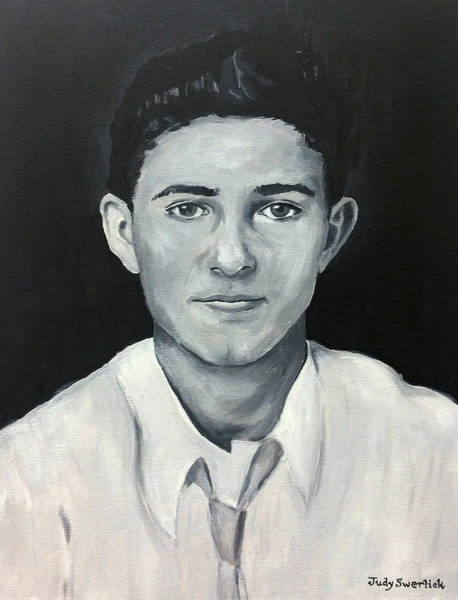 Wall Art - Painting - My Dad Morris At Fifteen by Judy Swerlick
