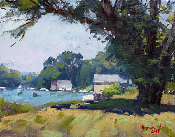 Plein-air Painting - My Demonstration At Plein Air Workshop At Mayors Park by Ylli Haruni