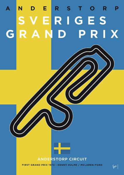 Limited Edition Wall Art - Digital Art - My F1 Anderstorp Race Track Minimal Poster by Chungkong Art