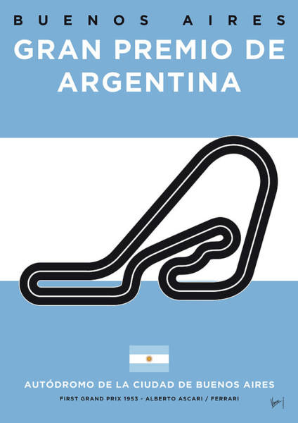 Limited Edition Wall Art - Digital Art - My F1 Buenos Aires Race Track Minimal Poster by Chungkong Art