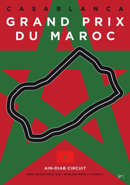 Limited Edition Wall Art - Digital Art - My F1 Casablanca Race Track Minimal Poster by Chungkong Art