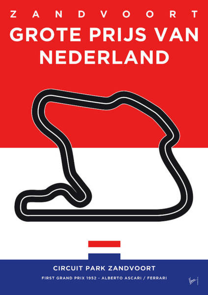 Wall Art - Digital Art - My F1 Zandvoort Race Track Minimal Poster by Chungkong Art