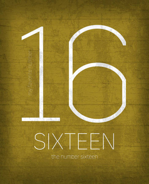Number Mixed Media - My Favorite Number Is Number 16 Series 016 Sixteen Graphic Art by Design Turnpike