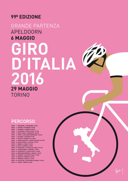 Wall Art - Digital Art - My Giro Ditalia Minimal Poster 2016 by Chungkong Art
