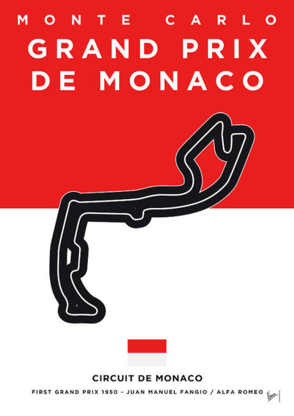 Limited Edition Wall Art - Digital Art - My Grand Prix De Monaco Minimal Poster by Chungkong Art