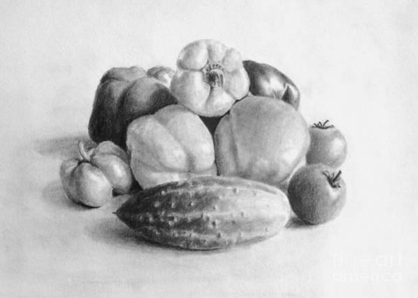 Vegan Drawing - My Grandma's Harvest by Anna Starkova