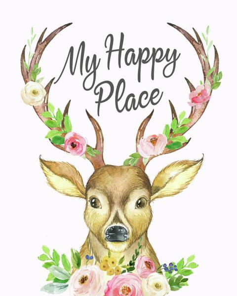 Antlers Digital Art - My Happy Place Woodland Boho Deer by Lisa Spence