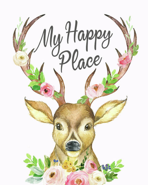 Antlers Digital Art - My Happy Place Woodland Boho Deer by Pink Forest Cafe