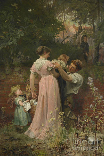 Picnic Basket Wall Art - Painting - My Lady Is A Widow And Childless, 1874 by Marcus Stone