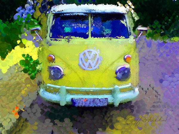 1960s Digital Art - My Magic Bus by Geoff Strehlow