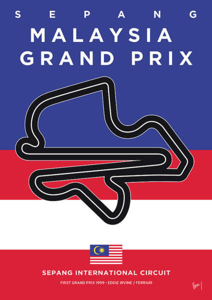 Limited Edition Wall Art - Digital Art - My Malaysia Grand Prix Minimal Poster by Chungkong Art