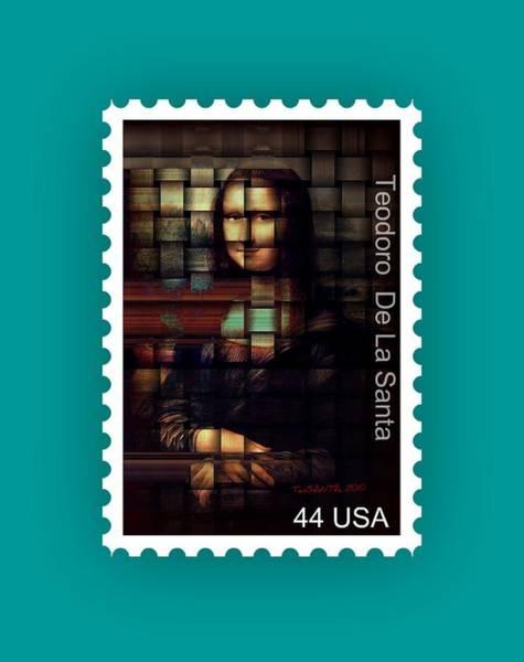 Painting - My Mona Lisa Stamp Series by Teodoro De La Santa