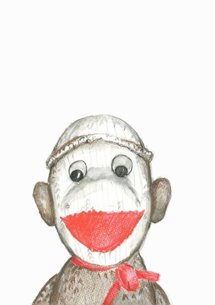 Sock Monkey Drawing - My Monkey by Elizabeth Szekely