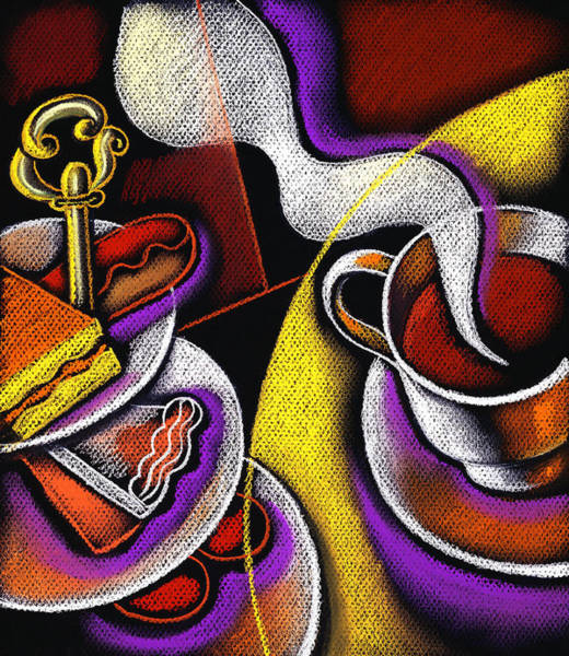 Food Groups Painting - My Morning Coffee by Leon Zernitsky