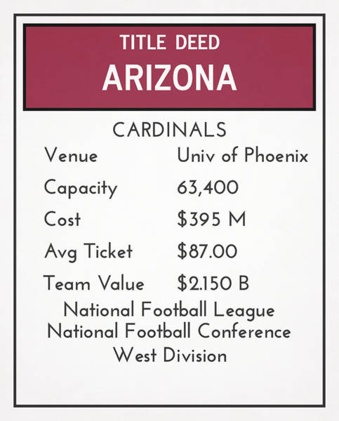 Cardinal Mixed Media - My Nfl Arizona Cardinals Monopoly Card by Joe Hamilton