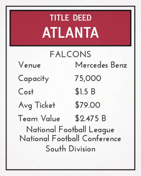Atlanta Falcons Mixed Media - My Nfl Atlanta Falcons Monopoly Card by Joe Hamilton