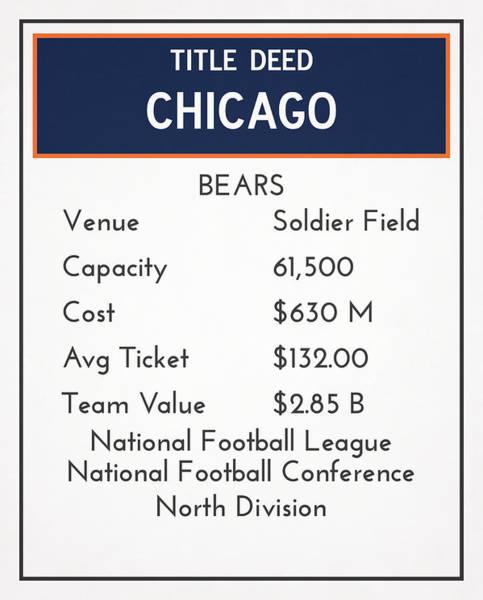Wall Art - Mixed Media - My Nfl Chicago Bears Monopoly Card by Joe Hamilton