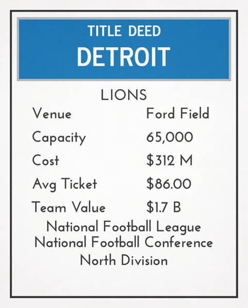 Lion Mixed Media - My Nfl Detroit Lions Monopoly Card by Joe Hamilton