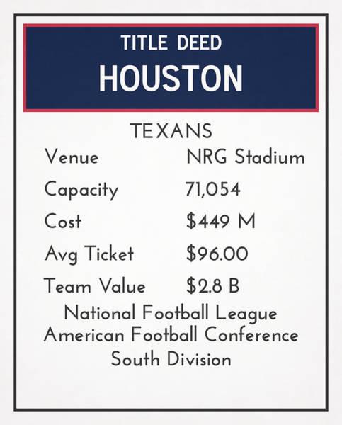Wall Art - Mixed Media - My Nfl Houston Texans Monopoly Card by Joe Hamilton
