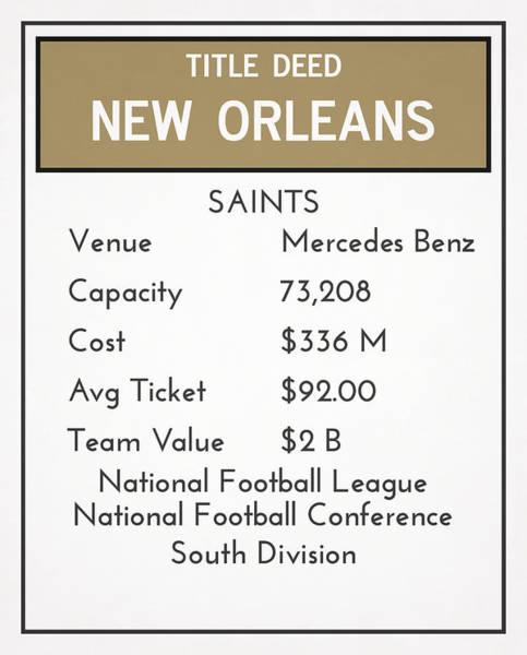 Catholic Mixed Media - My Nfl New Orleans Saints Monopoly Card by Joe Hamilton