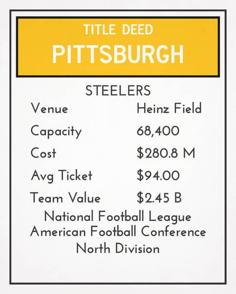 Wall Art - Mixed Media - My Nfl Pittsburgh Steelers Monopoly Card by Joe Hamilton
