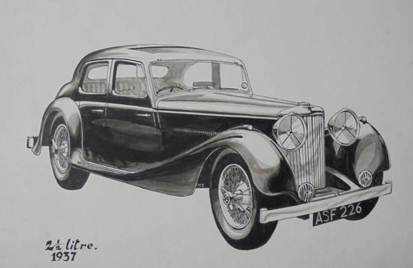 Vintage Car Drawing - My Old Jag. by Mike Jeffries