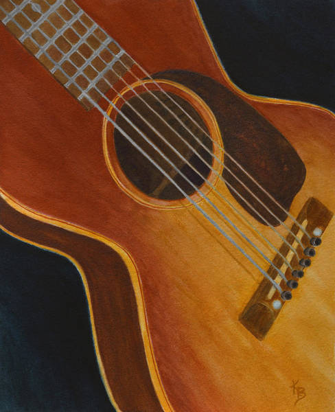 Painting - My Old Sunburst Guitar by Karen Fleschler