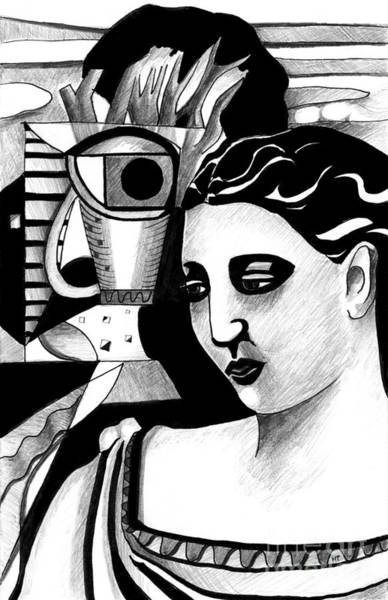 Drawing - My Outing With A Young Woman By Picasso by Helena Tiainen