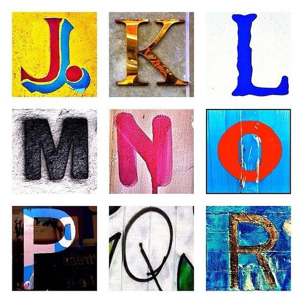 Wall Art - Photograph - my own alphabet J to R by Julie Gebhardt