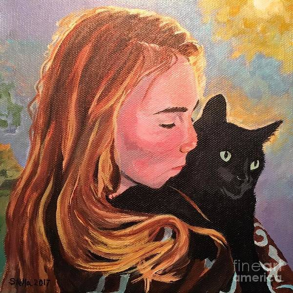 Painting - My Purring Friend Whiskers by Stella Sherman