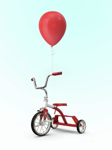 Childhood Digital Art - My Red Balloon by Edward Fielding