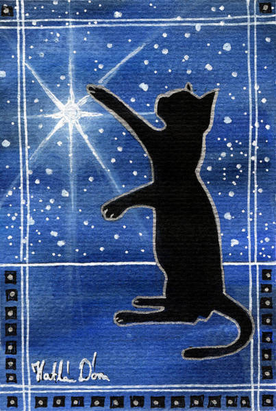 My Shinning Star - Christmas Cat Art Print