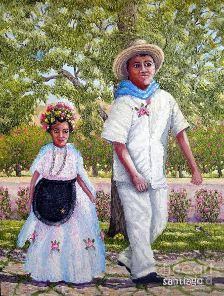 Painting - My Sister And I by Santiago Chavez