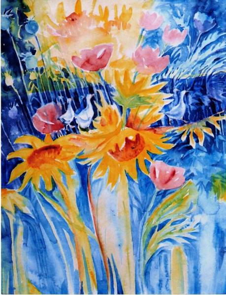 Wall Art - Painting - Summer Garden With Ducks And Sunflowers by Trudi Doyle