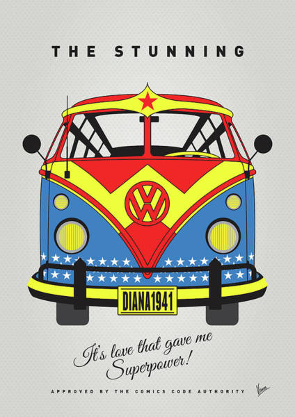 Wall Art - Digital Art - My Superhero-vw-t1-supermanmy Superhero-vw-t1-wonder Woman by Chungkong Art