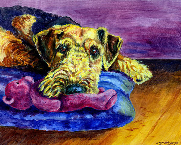 Teddy Bear Painting - My Teddy Airedale Terrier by Lyn Cook