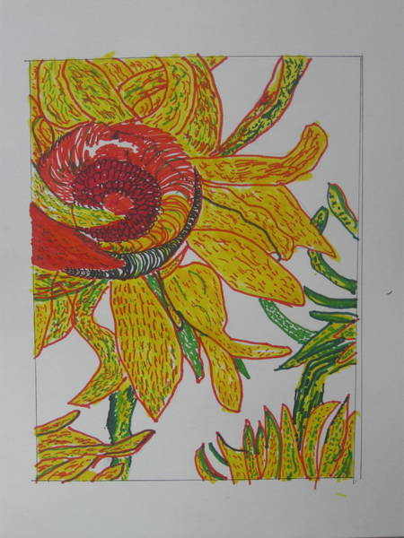Drawing - My Version Of A Van Gogh Sunflower by AJ Brown