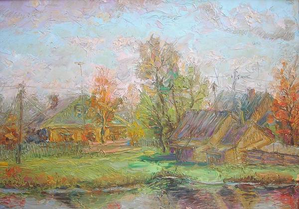 Russian Impressionism Wall Art - Painting - My Village. 1988 by Ivan KRUTOYAROV