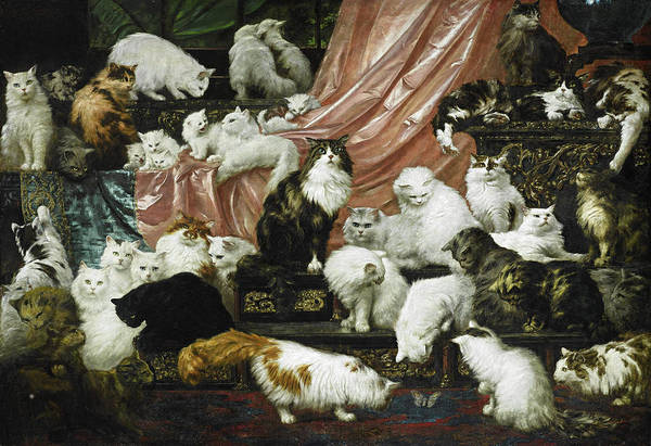 Beautiful Cats Wall Art - Painting - My Wife's Lovers by Carl Kahler