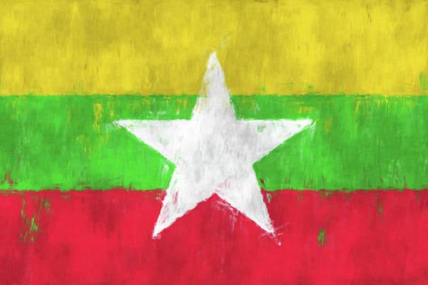 Wall Art - Digital Art - Myanmar Flag. Painted Flag Design Of Myanmar Flag. by World Art Prints And Designs