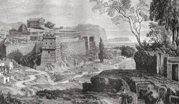 Reconstruction Drawing - Mycenae, The Centre Of Early Greek by Vintage Design Pics