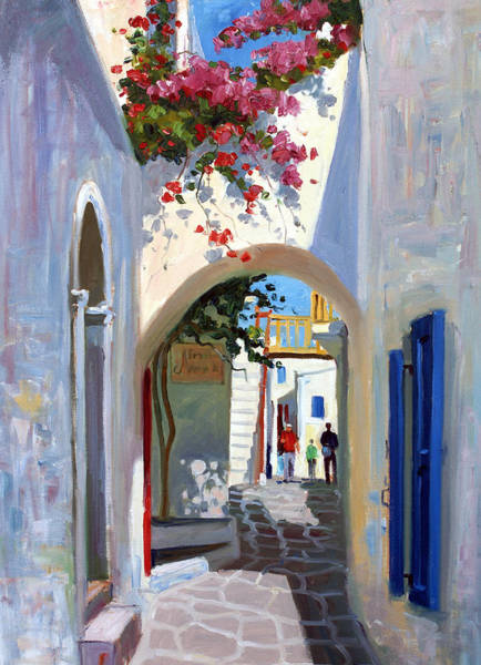 Greek Islands Wall Art - Painting - Mykonos Archway by Roelof Rossouw