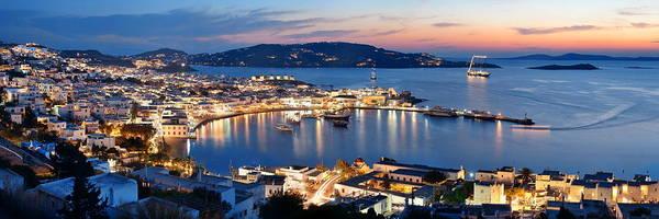 Photograph - Mykonos Bay Night by Songquan Deng