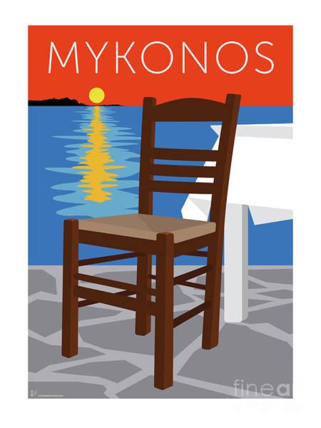 Digital Art - Mykonos Empty Chair - Orange by Sam Brennan