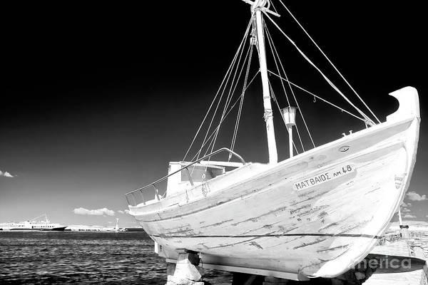 Photograph - Mykonos Fishing Boat Infrared by John Rizzuto