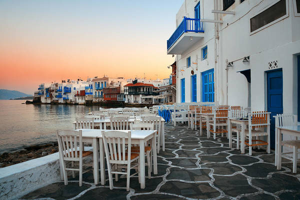 Photograph - Mykonos Little Venice Sunset by Songquan Deng