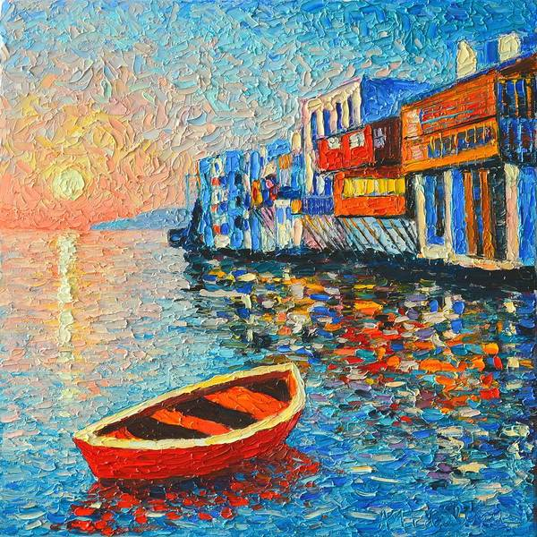 Wall Art - Painting - Mykonos Little Venice - Timeless Moment by Ana Maria Edulescu