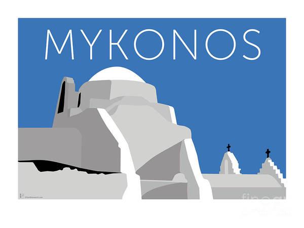 Digital Art - Mykonos Paraportiani - Blue by Sam Brennan